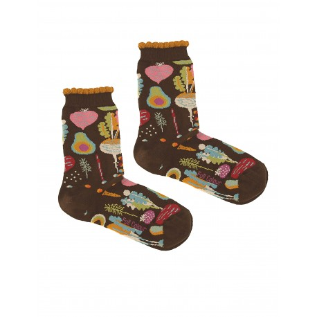 VEGETABLES BROWN WOMAN SOCKS