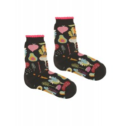 VEGETABLES BLACK WOMAN SOCKS